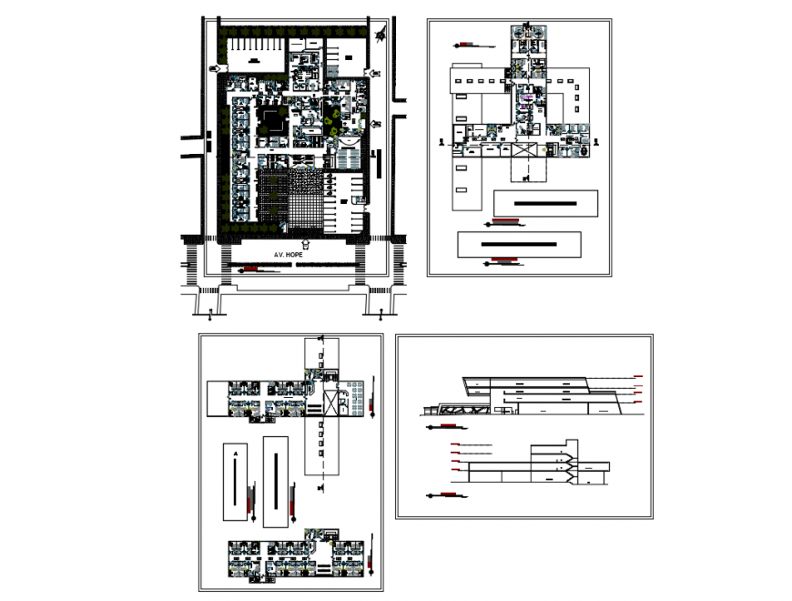 Hospital multi-story elevation, section, general layout plan and floor plan details dwg file