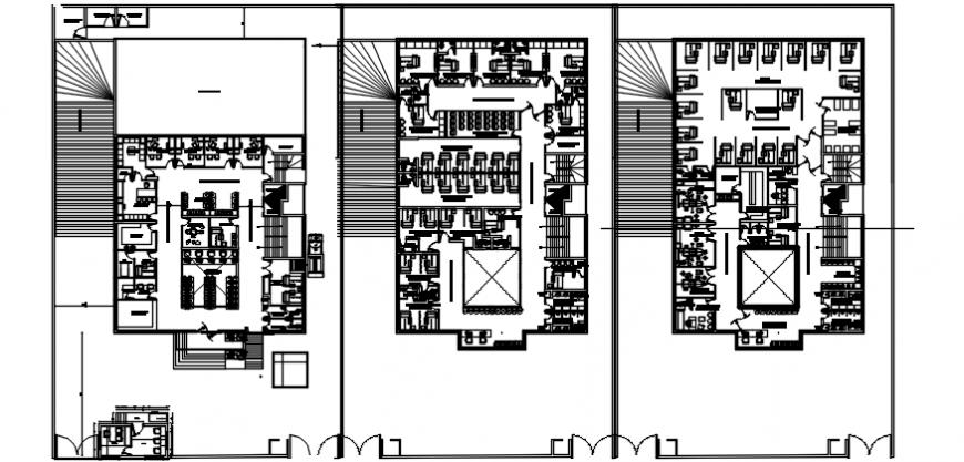 Hospital multi-story floor plan distribution cad drawing details dwg file