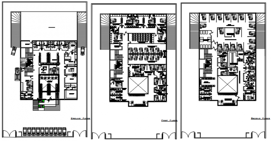 Hospital plus residence floor plan distribution drawing details dwg file