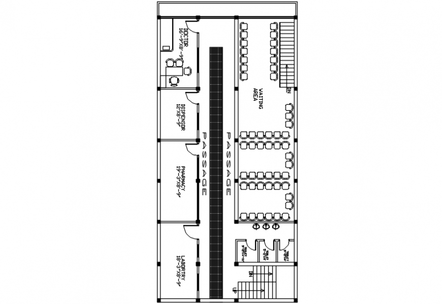 Hospital reception area layout plan cad drawing details dwg file