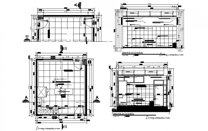 Hospital room blocks drawings detail 2d view plan and section dwg file