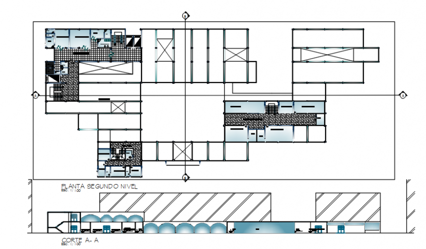 Hospital second floor plan with sectional elevation in auto cad file