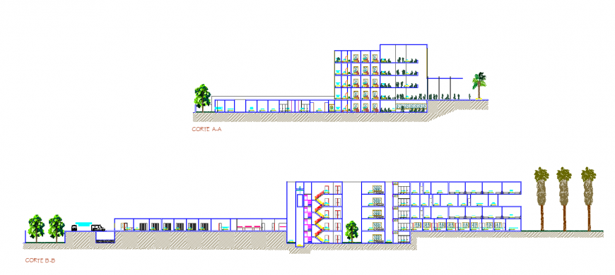 Hospital section drawing in dwg file.
