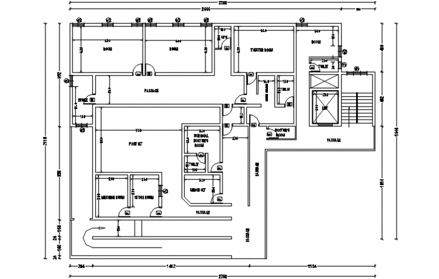 Hospital top view layout plans block files