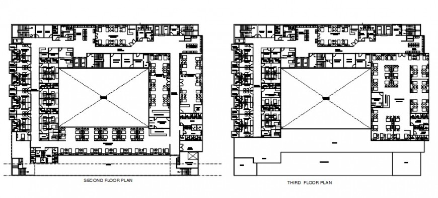 Hospital top view multi floor plan