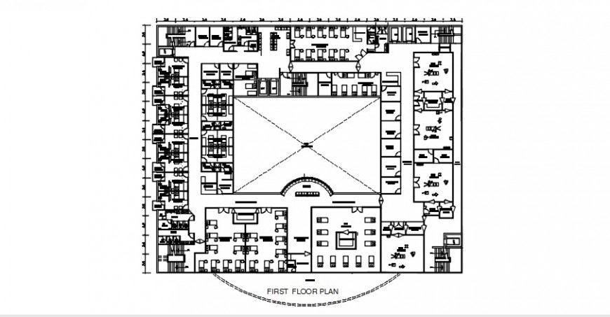 Hospital top view plan dwg file