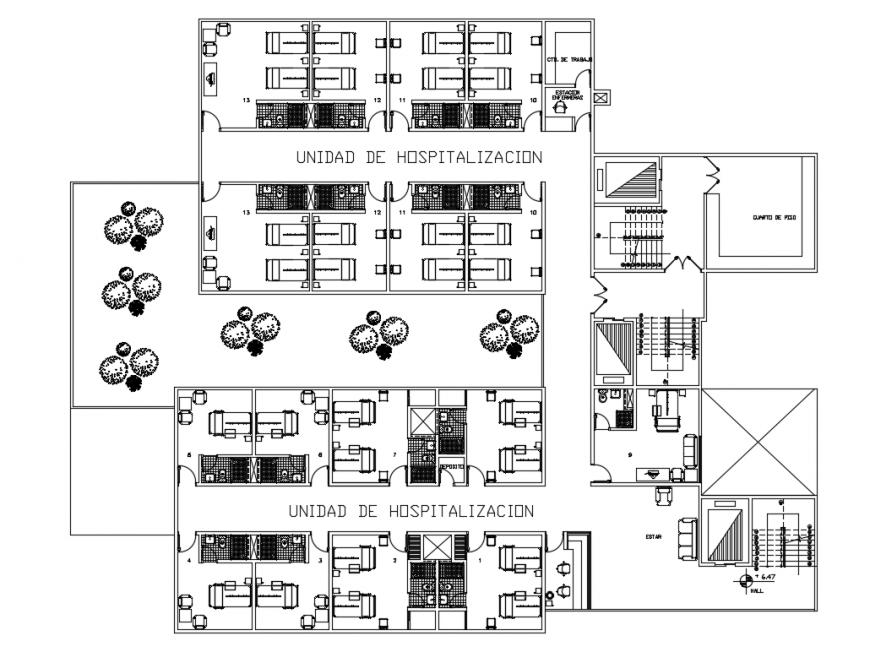 Hospital unit layout plan cad drawing details dwg file