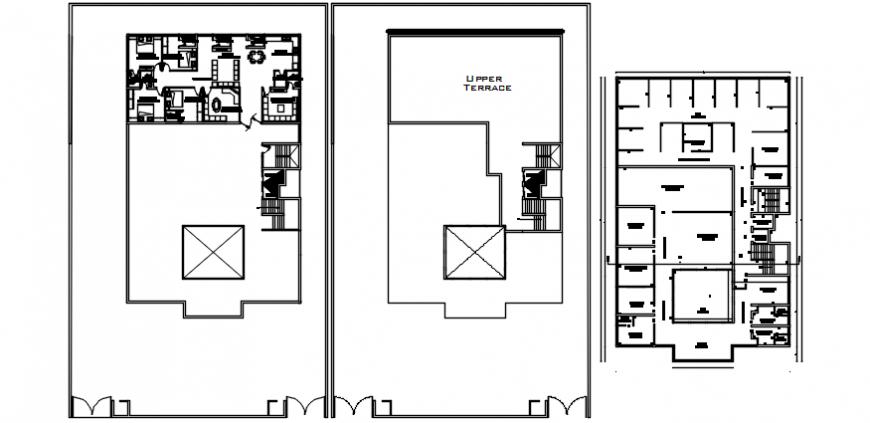 Hospital units floor plan distribution for multi-story building dwg file