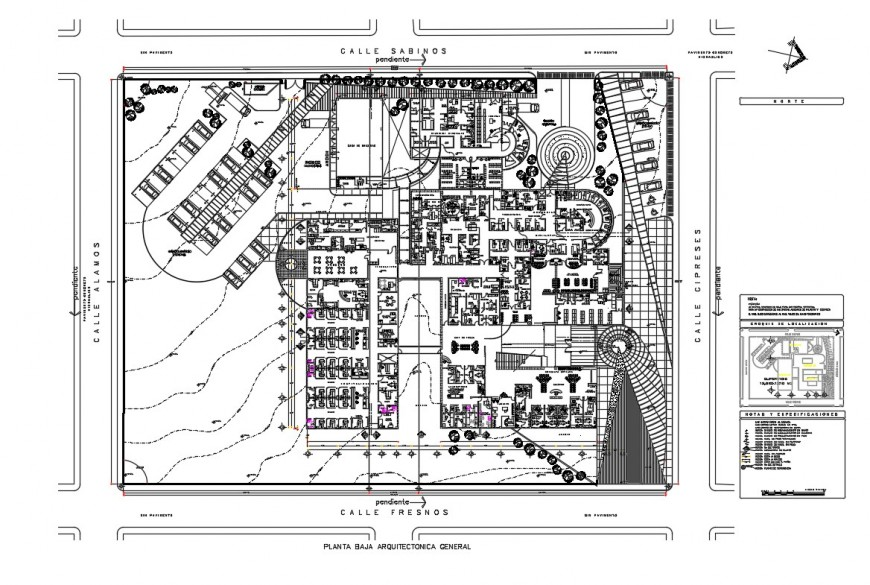 Hospital with 34 beds architecture layout plan details dwg file