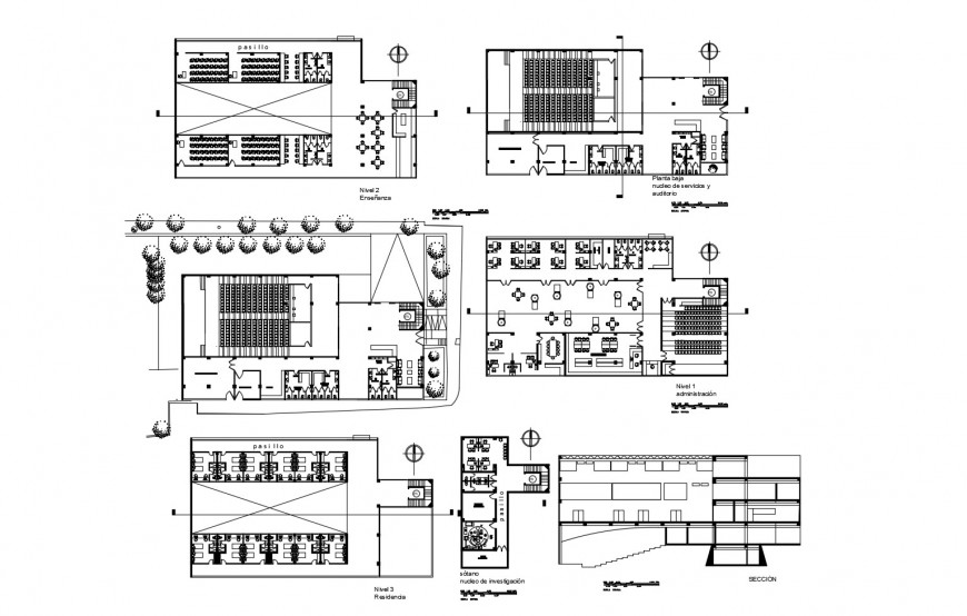 Hospital with residence facilities section and floor plan cad drawing details dwg file