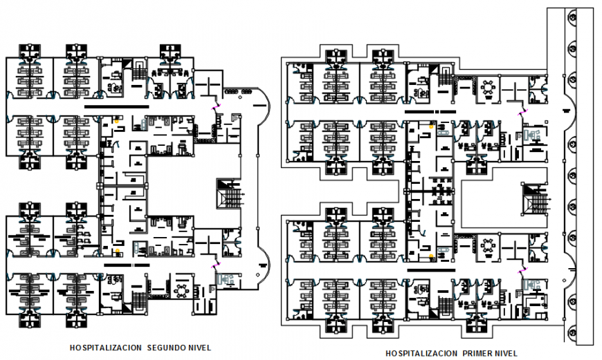 Hospitalization floor plan with home in auto cad