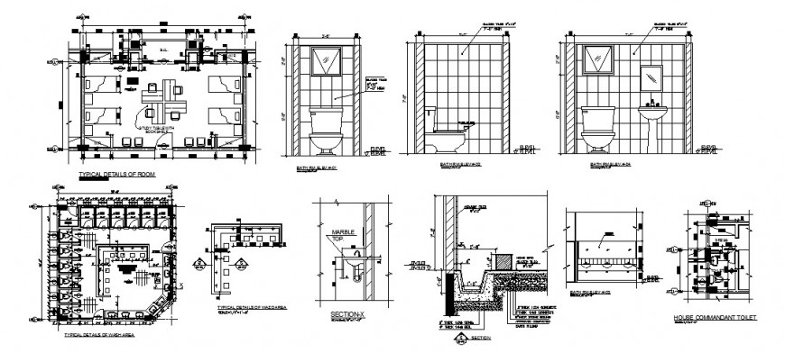 Hostel blocks architecture details for toilets and rooms dwg file