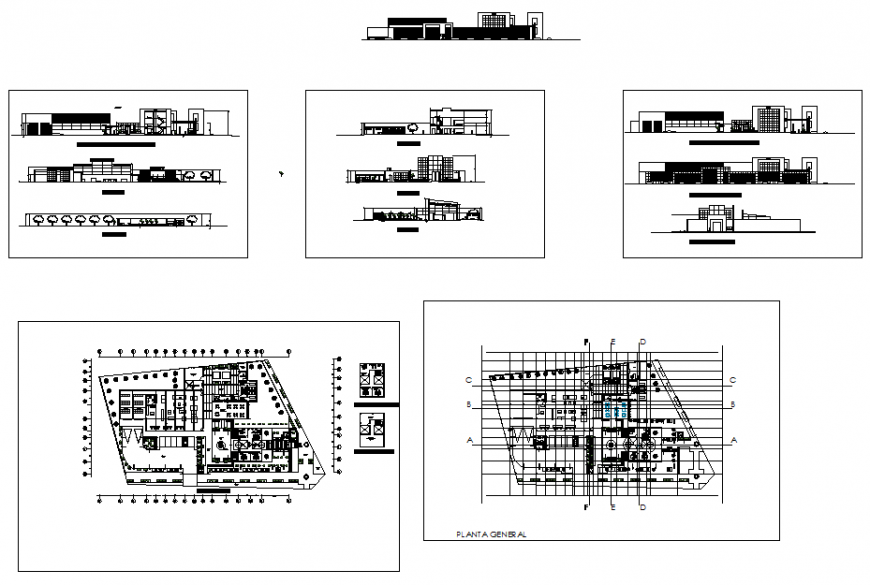 Hostel building detail elevation and plan view layout file