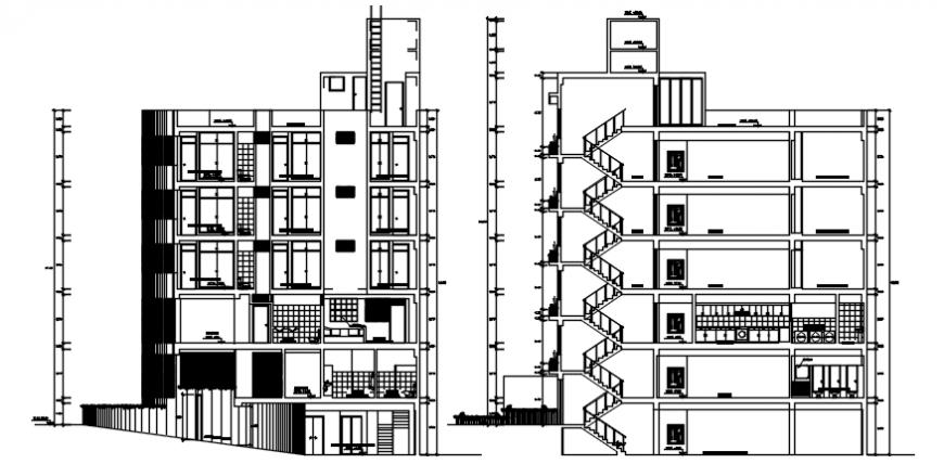 Hostel building of school elevation in AutoCAD