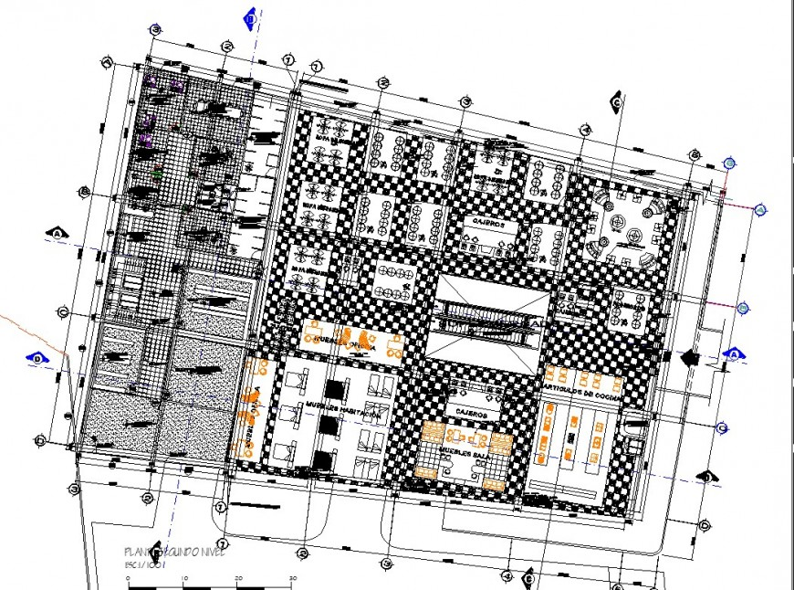 Hostel commercial building planning autocad file