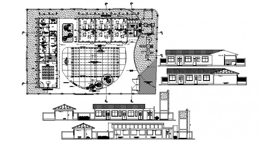 Hostel for school elevation, section and plan cad drawing details dwg file