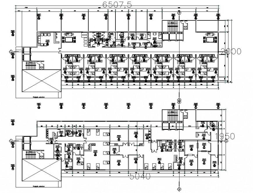 hostel layout floor detail cad file