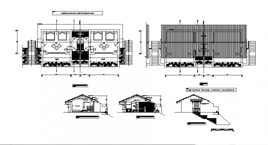 Hostel rooms elevation, section and distribution plan cad drawing details dwg file
