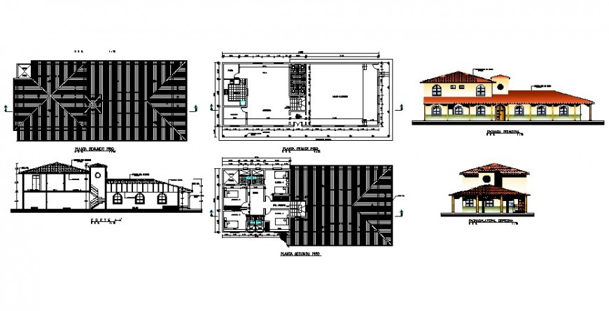 Hostel with auditorium floor plan and elevation in auto cad