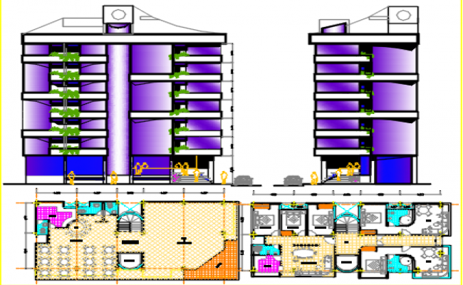 hotel seven floors dwg file