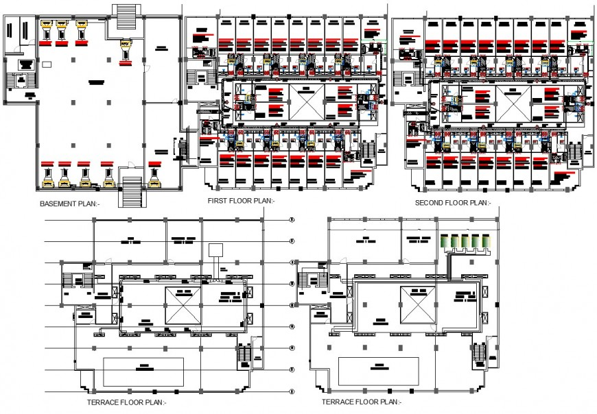Hotel air conditioning ductwork plan drawings in autocad