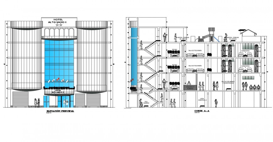 Hotel Alto mayo facade elevation and section cad drawing details dwg file