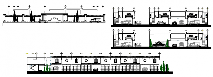 Hotel and banquet hall detail elevation dwg file