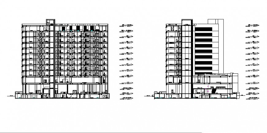 Hotel and casino different section view in auto cad