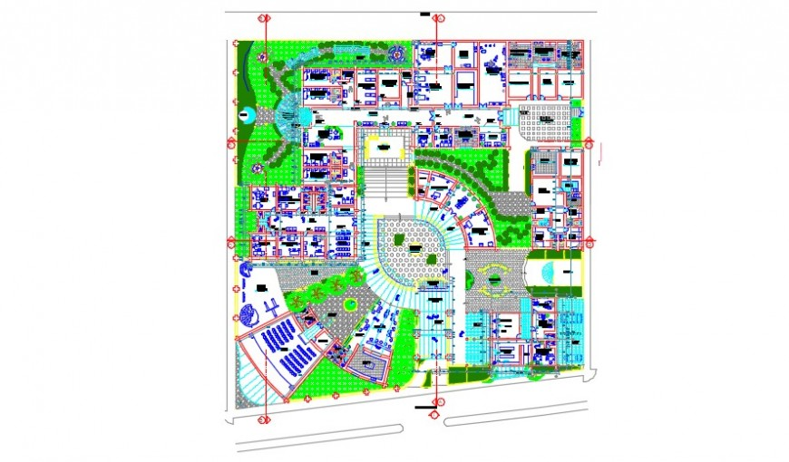 Hotel and reosrt top view architectural plan detail dwg file