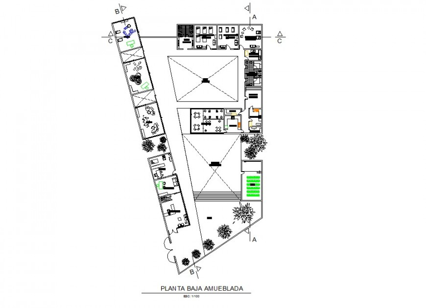Hotel and resort layout plan dwg file model
