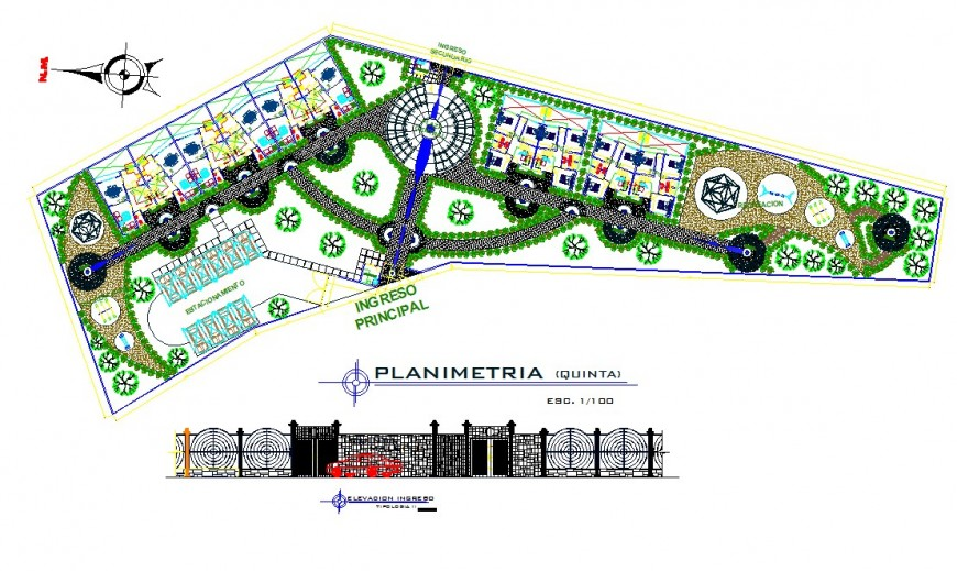 Hotel and resort top view plan