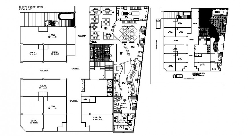 Hotel and restaurant building structure detail plan 2d view dwg file