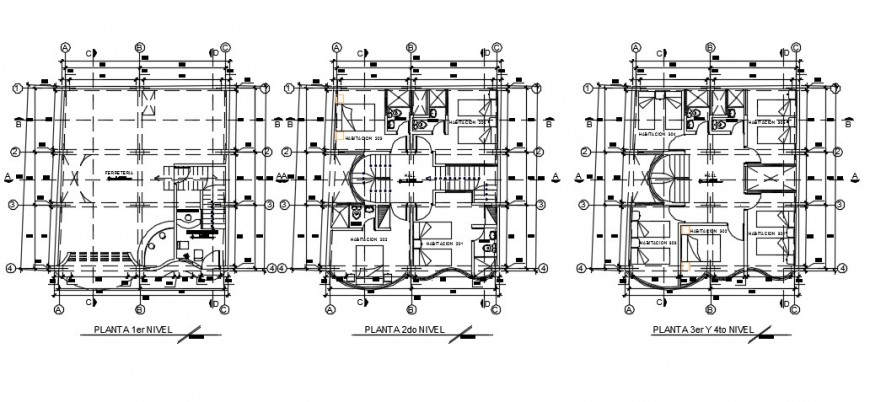 Hotel architectural furniture top view layout plan detail dwg file
