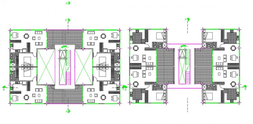 Hotel architectural top view layout plan detail dwg file