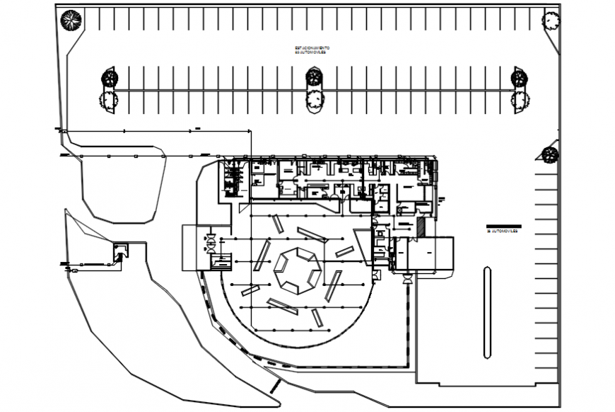 Hotel architecture plan in AutoCAD file