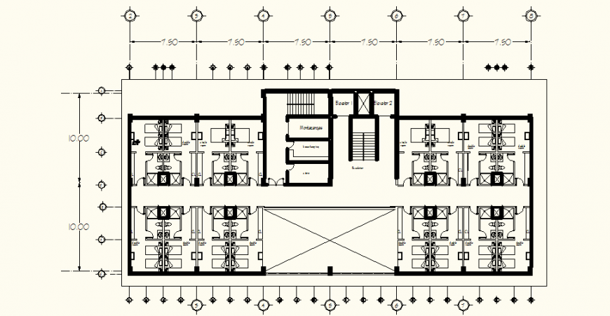 Hotel area plan with design of architect dwg file