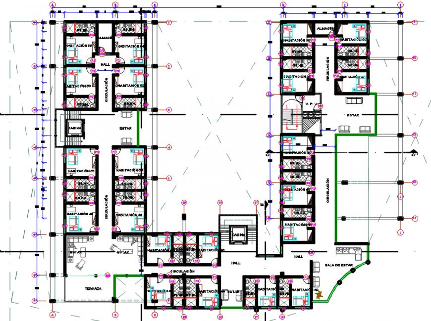 Hotel bedroom floor layout plan cad file