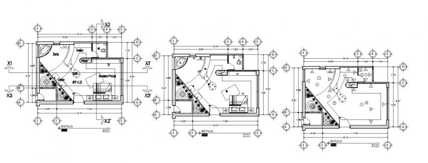 Hotel bedroom interior layout drawing in dwg AutoCAD file.