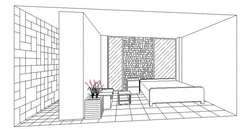 Hotel bedroom interior view cad drawing details dwg file