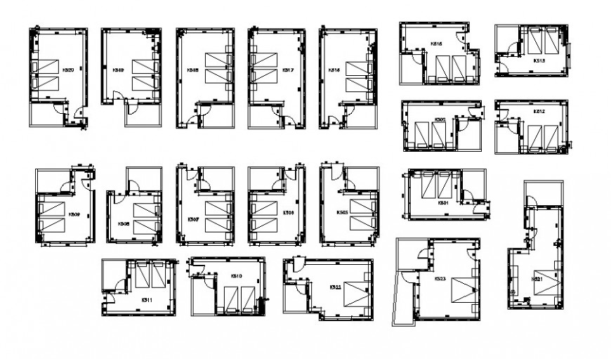 Hotel bedroom layout plan detail drawing in AutoCAD file.