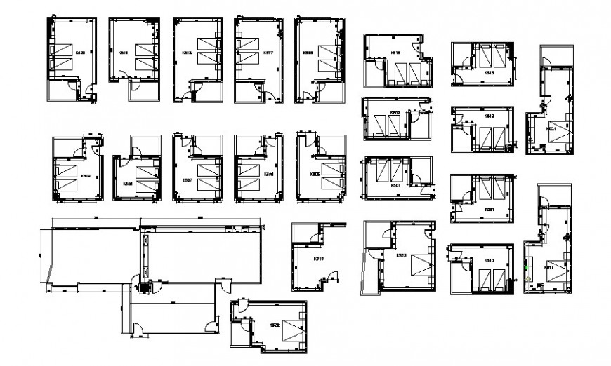 Hotel bedroom layout plan in AutoCAD file.