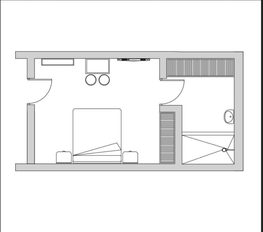Hotel bedroom layout plan with interior details dwg file