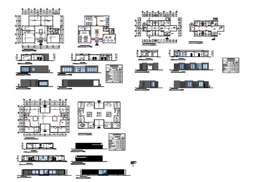 Hotel building all sided elevation, section, floor plan and auto-cad details dwg file
