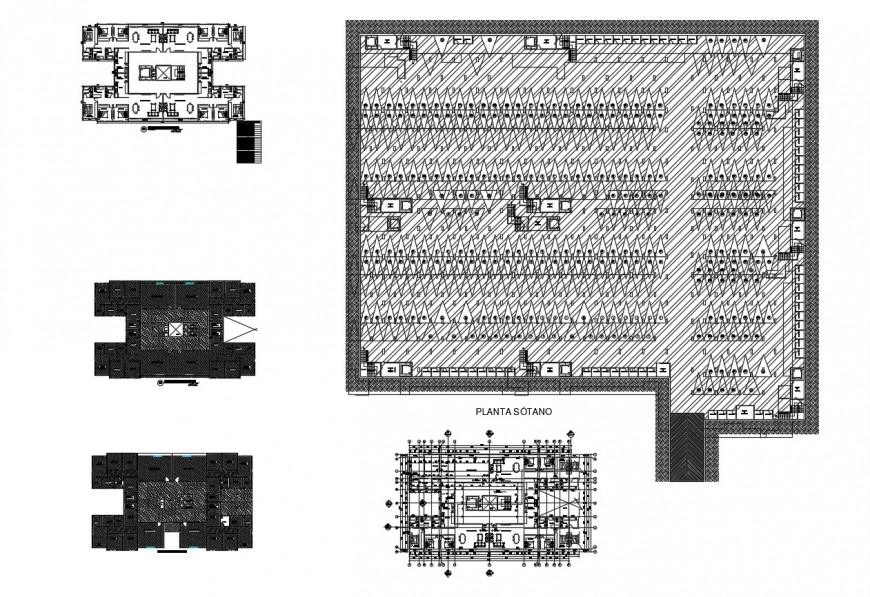 Hotel building and terrace plan detail 2d view autocad file