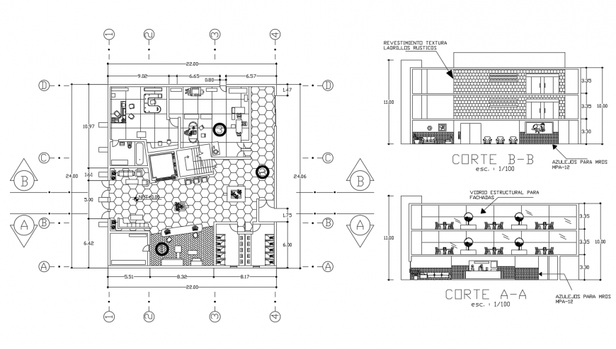 Hotel building cut section and distribution plan cad drawing details dwg file