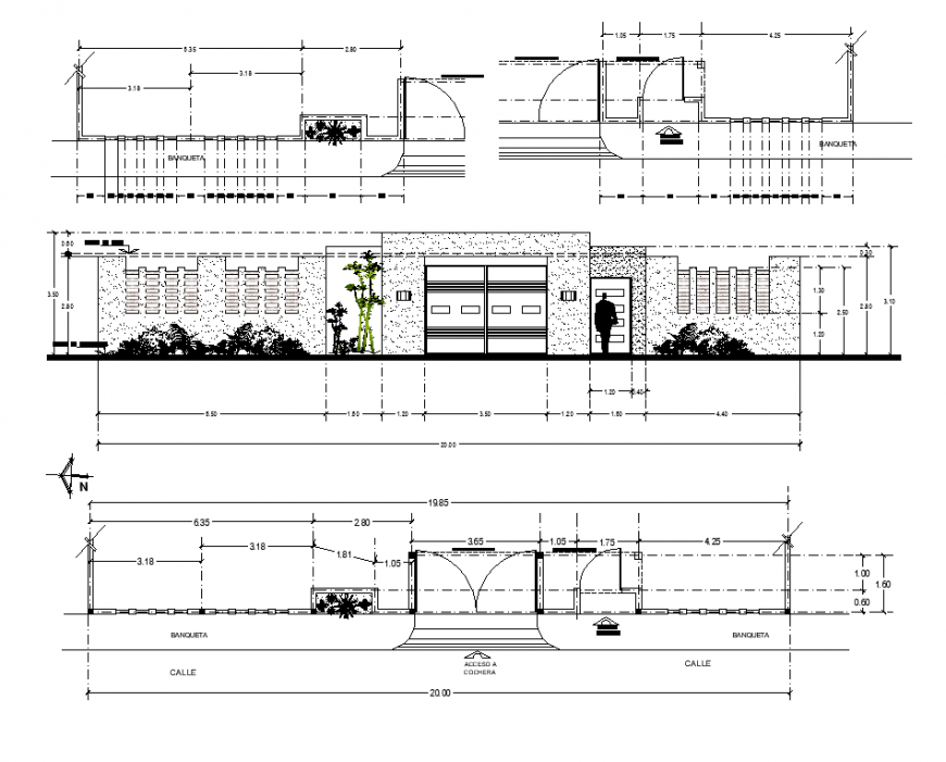 Hotel building detail elevation 2d view layout autocad file