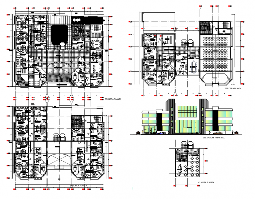 Hotel building detail elevation and plan layout dwg file