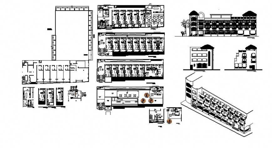 Hotel building detail layout plan and elevation 2d view autocad file