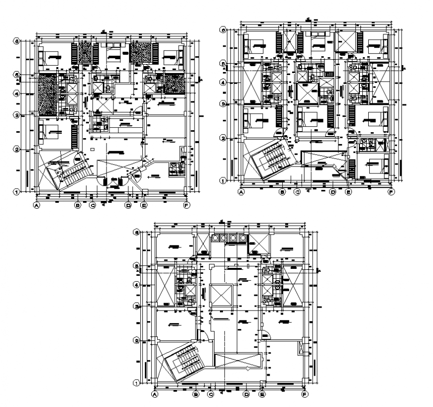Hotel building detail plan layout autocad file