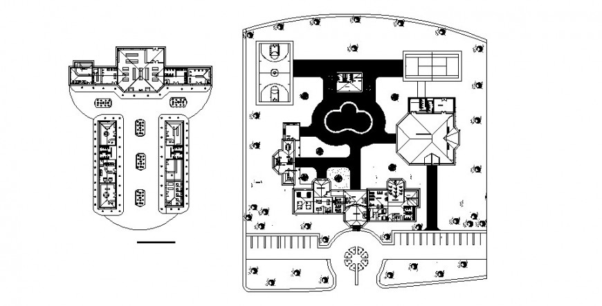 Hotel building distribution plan and layout plan cad drawing details dwg file